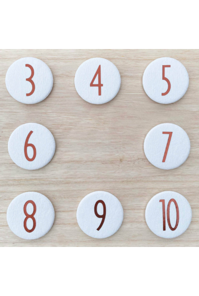 Set Cijferknopen nr 7- 10 Koper