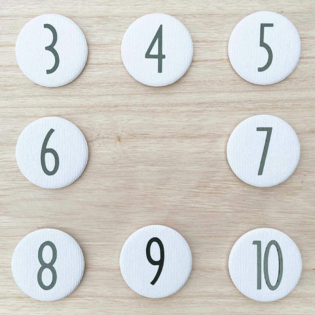Set Cijferknopen nr 7- 10 Olijfgroen - Liezelijn-1