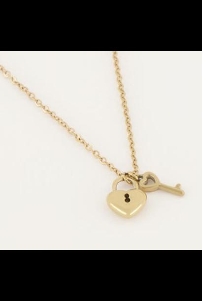 Necklace heart lock & key