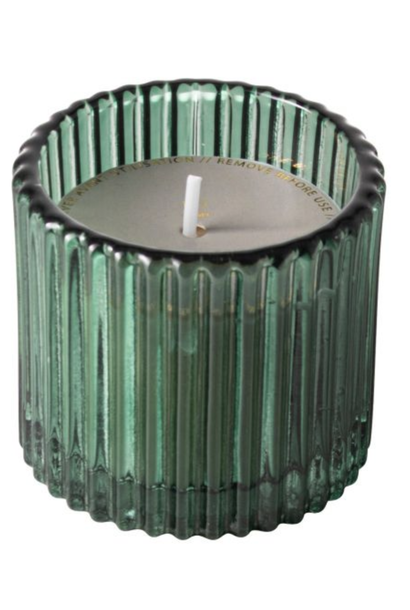 Candle Green Ribbed Glass