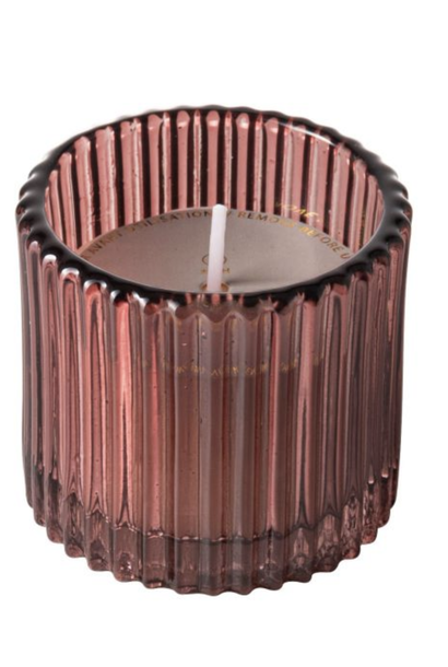 Candle Pink Ribbed Glass