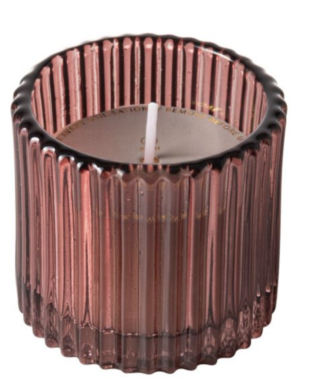 Kaars Roze Ribbelglas - Gusta-1