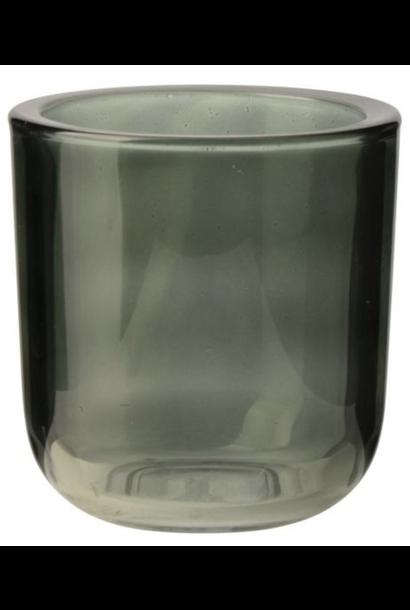 Glass Tea Light Holder Green Large