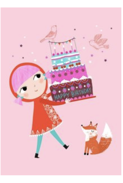 Kaartje Happy Birthday Roze