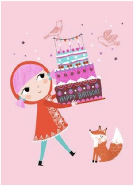 Kaartje Happy Birthday Roze - Petit Monkey-1