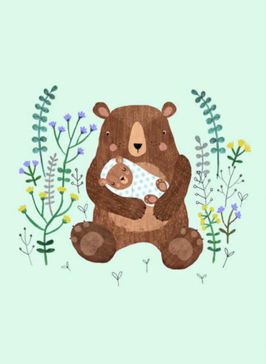 Kaartje Mamabeer Met Baby - Petit Monkey-1
