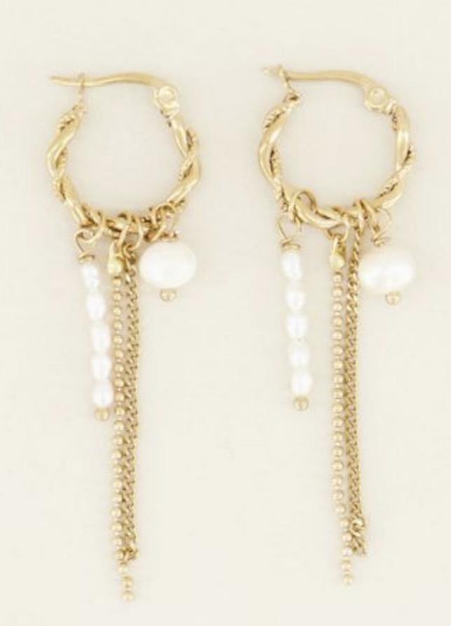 Oorringen sliertjes & parels - My Jewellery-1