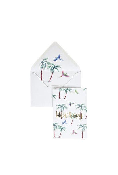 Wenskaart Hooray Parrot Palm