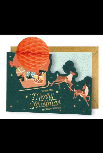 Pop-Up Kerstkaart Slee - Merry Christmas