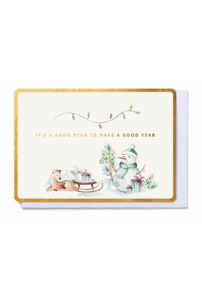 Kerstkaart Sneeuwman & Hert- Good Year