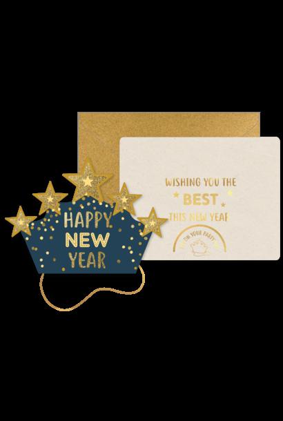 Kerstkaart Hoedje Ster - Happy New Year