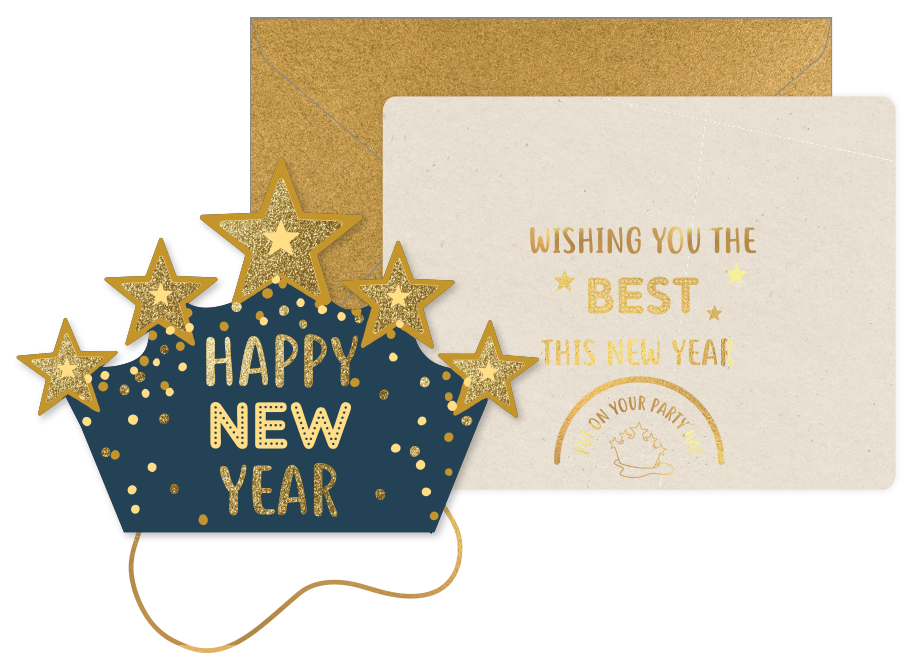 Kerstkaart Hoedje Ster - Happy New Year-1