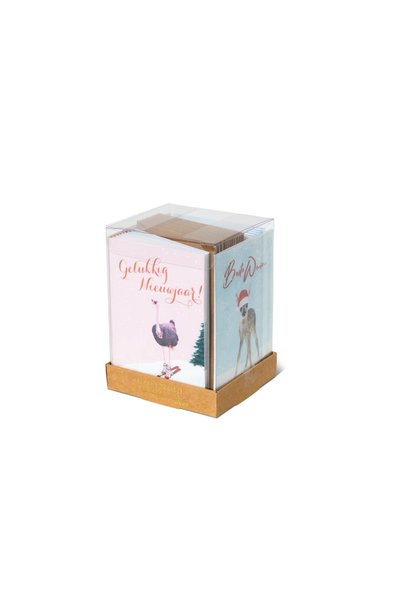 Kerstkaart Bestie Box Blauw/Roze - 20 Stuks