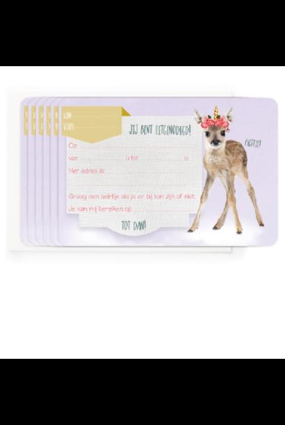 Uitnodigingen Set van 5 - Bambi