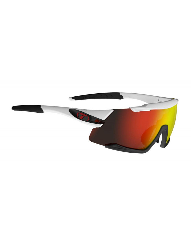 Tifosi Aethon, White/Black Interchangeable Sunglasses Clarion Red/AC Red/Clear