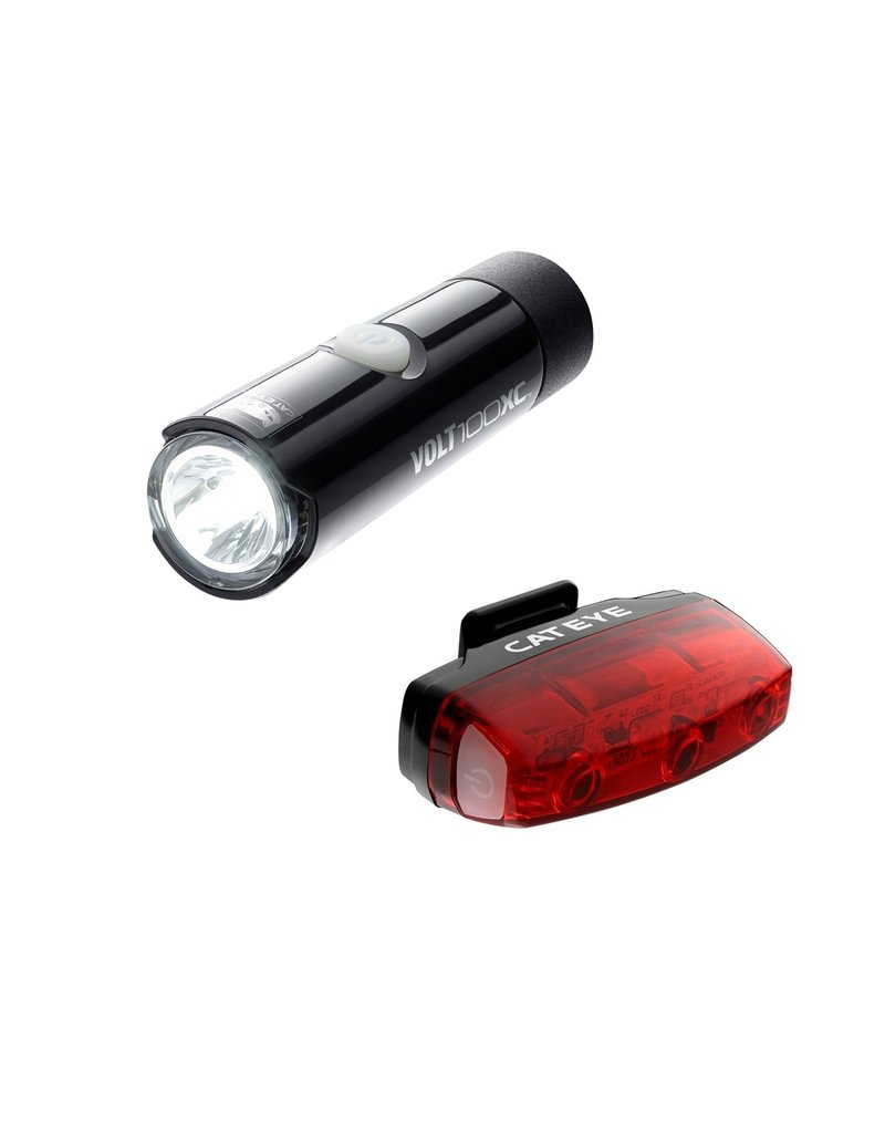 Cateye Volt 100 Xc Front Light & Rapid Micro Rear Usb Rechargeable Light Set size