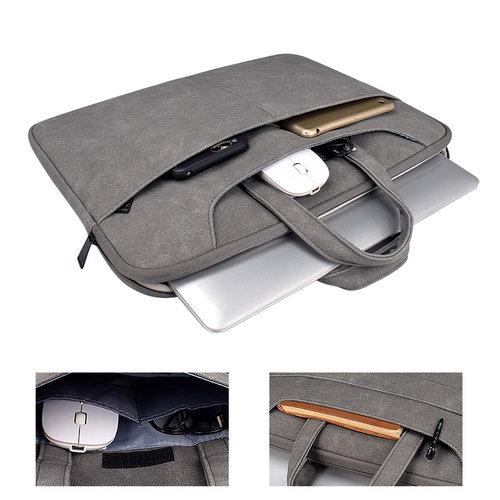 Laptophoes met schouderband echt leer