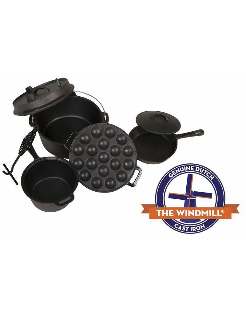 The Windmill - genuine dutch cast iron gietijzeren poffertjes pan of pancake pan