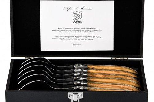 Laguiole style de vie Luxury line lepel set  olijfhout