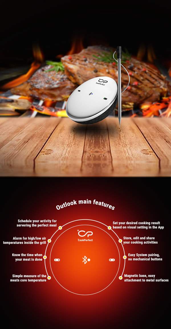 CookPerfect bluetooth vlees -en bbq thermometer