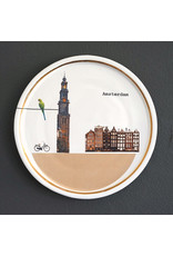 Keramieken bordje met print: Zondags naar de Westerkerk
