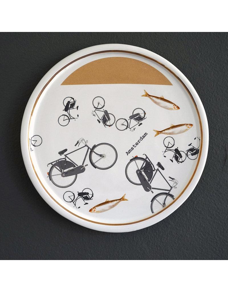 Keramieken bordje met print: Fietsen in de gracht