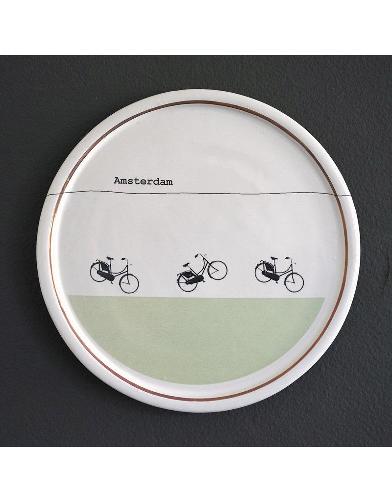 Keramieken bordje met print: Opoefietsen