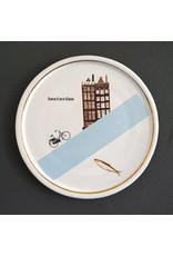 Keramieken bordje met print: Grachtenvisser