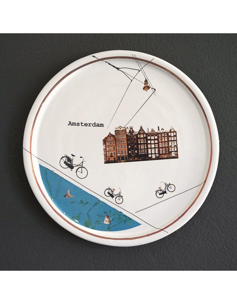 Keramieken bordje met print: Aan de Amsterdamse grachten...