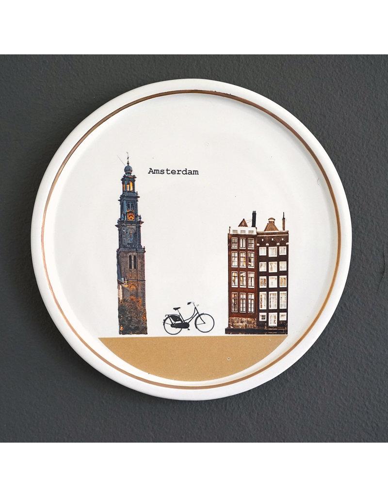 Keramieken bordje met print: Op de fiets naar huis