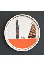 Keramieken bordje met print: tussen de Westerkerk en Koningsplein