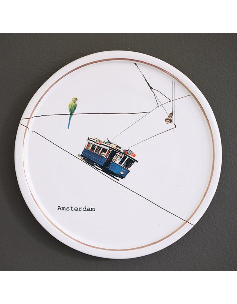 Keramieken bordje met print: Tramwachtertje