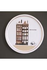Keramieken bordje met print: Gezellig op de fiets