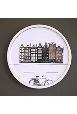 Keramieken bordje met print: Fietsen op de kade
