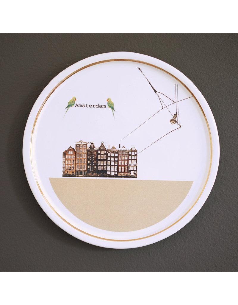 Keramieken bordje met print: Geef mij maar Amsterdam