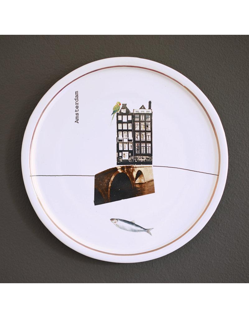 Keramieken bordje met print: Aan de Amsterdamse grachten