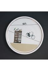 Keramieken bordje met print: kris kras door Amsterdam