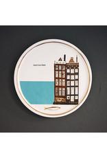 Keramieken bordje met print: huisje aan de gracht