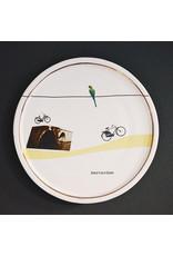 Keramieken bordje met print: groen Amsterdammertje