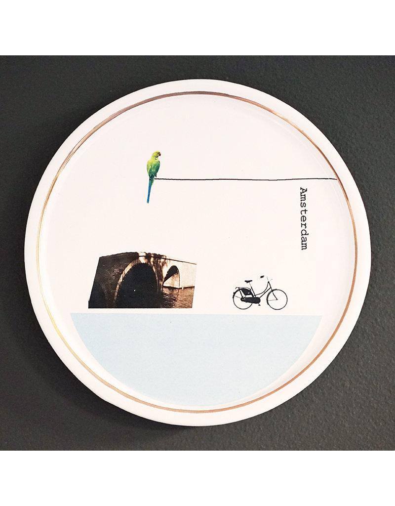 Keramieken bordje met print: Koorddansertje