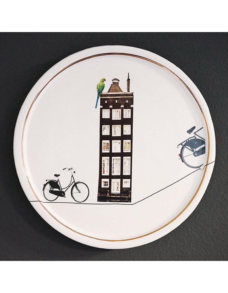 Keramieken bordje met print: Rondje fietsen door Mokum