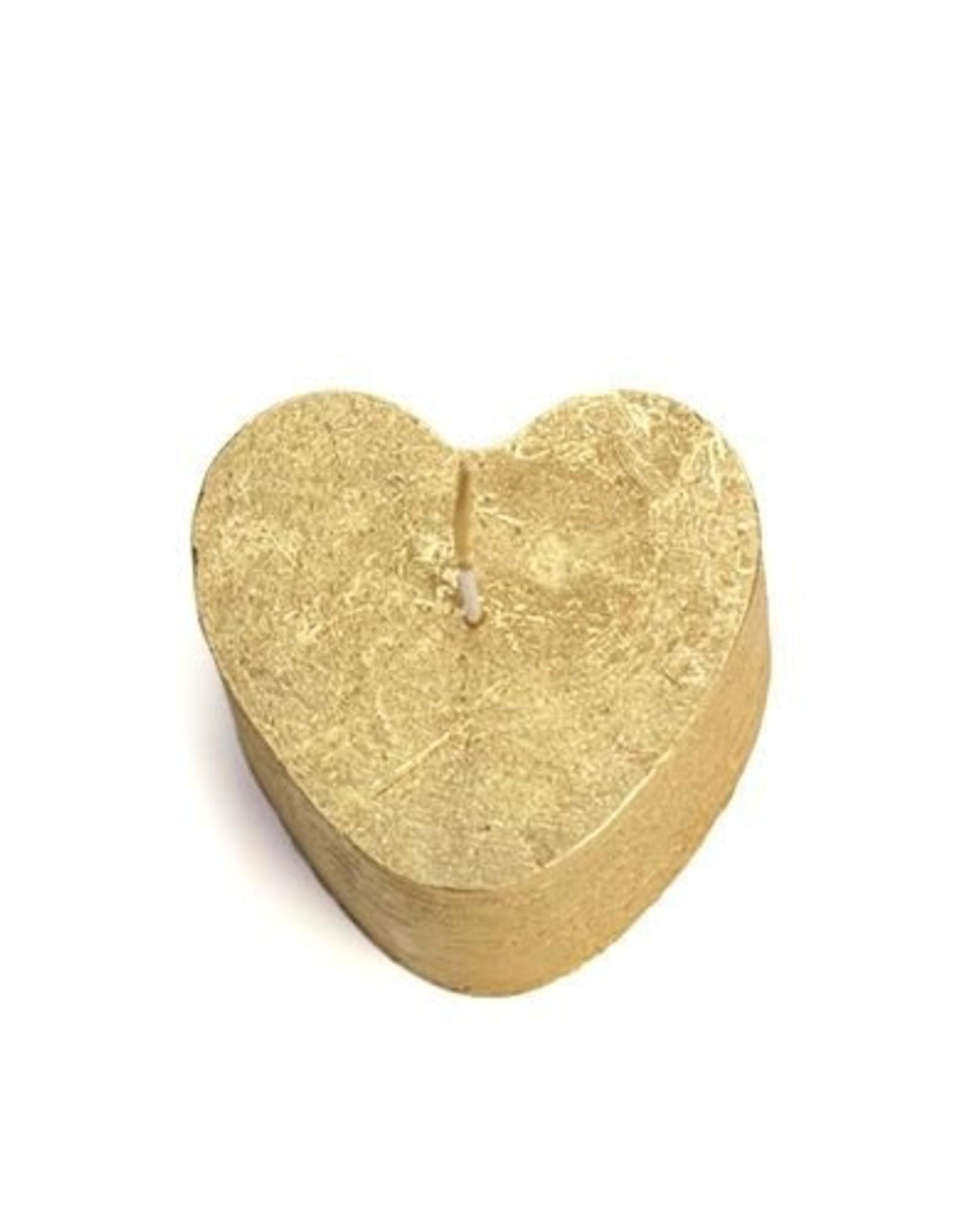 Rustik Lys Kaars hartjes goud 8x5,5