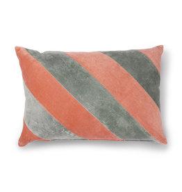 HK living Striped cushion velvet grey/nude