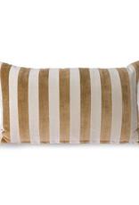 HK living Striped velvet cushion brown
