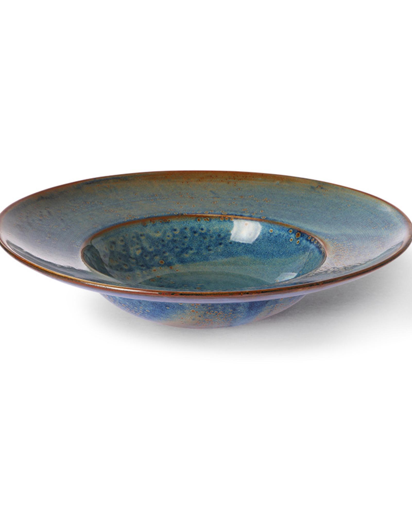HK living Pasta plate rustic blue