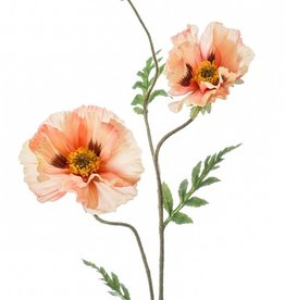 Emerald Eternal Green Poppy Spray 90cm peach