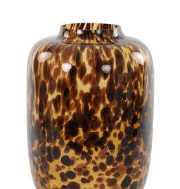 Light & Living Vaas Kobala glas bruin-zwart