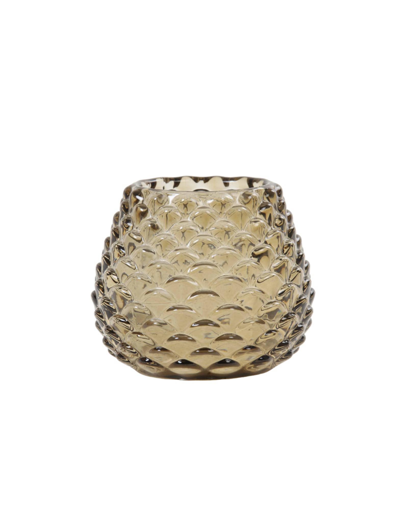 Light & Living Theelicht 10x8.5cm Levay glas bruin groen