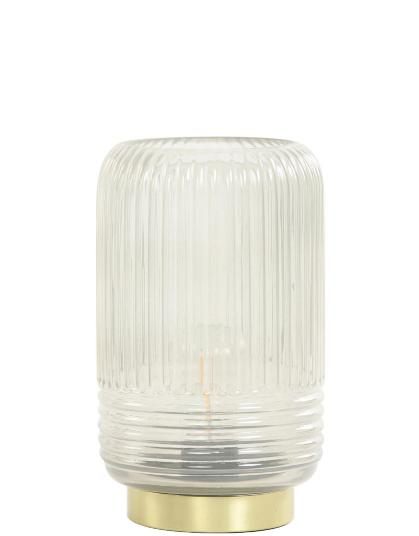Light & Living Tafellamp LED 12x18.5cm Lipa glas warm grijs
