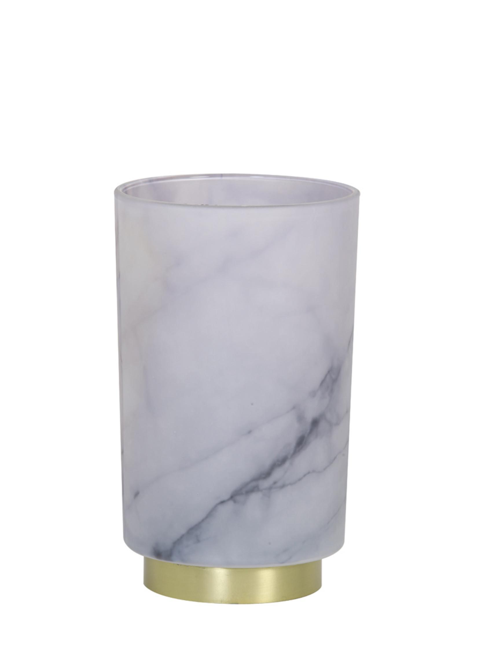 Light & Living Tafellamp Led 12x18cm Marble glas grijs